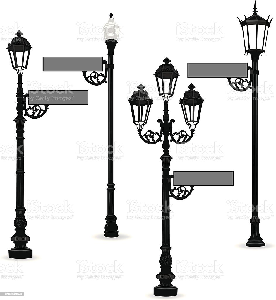 Street Sign with Lights royalty-free stock vector art