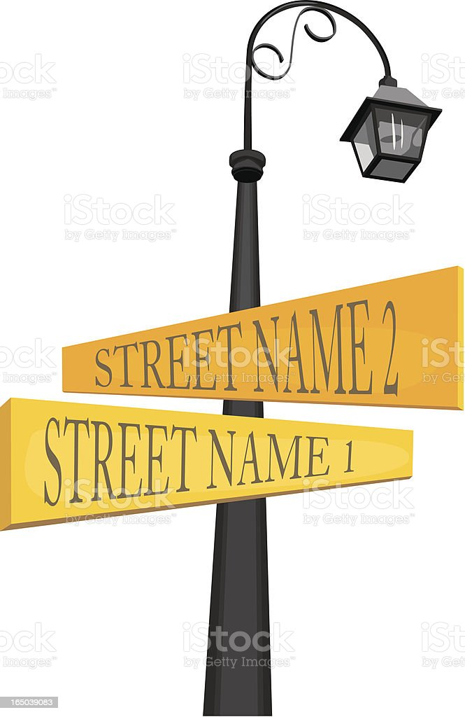 Street Signs at an Intersection or Corner royalty-free stock vector art