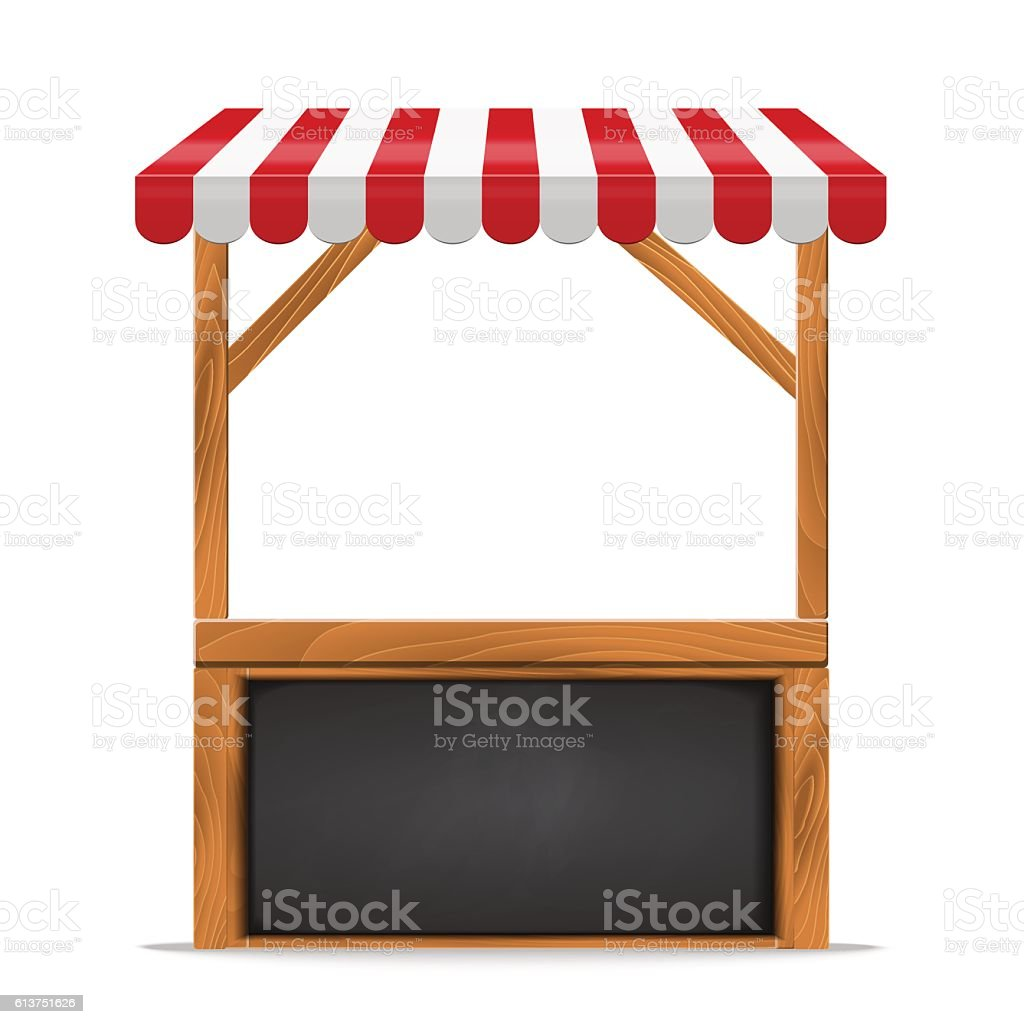 Street stall with red awning and wooden rack. vector art illustration