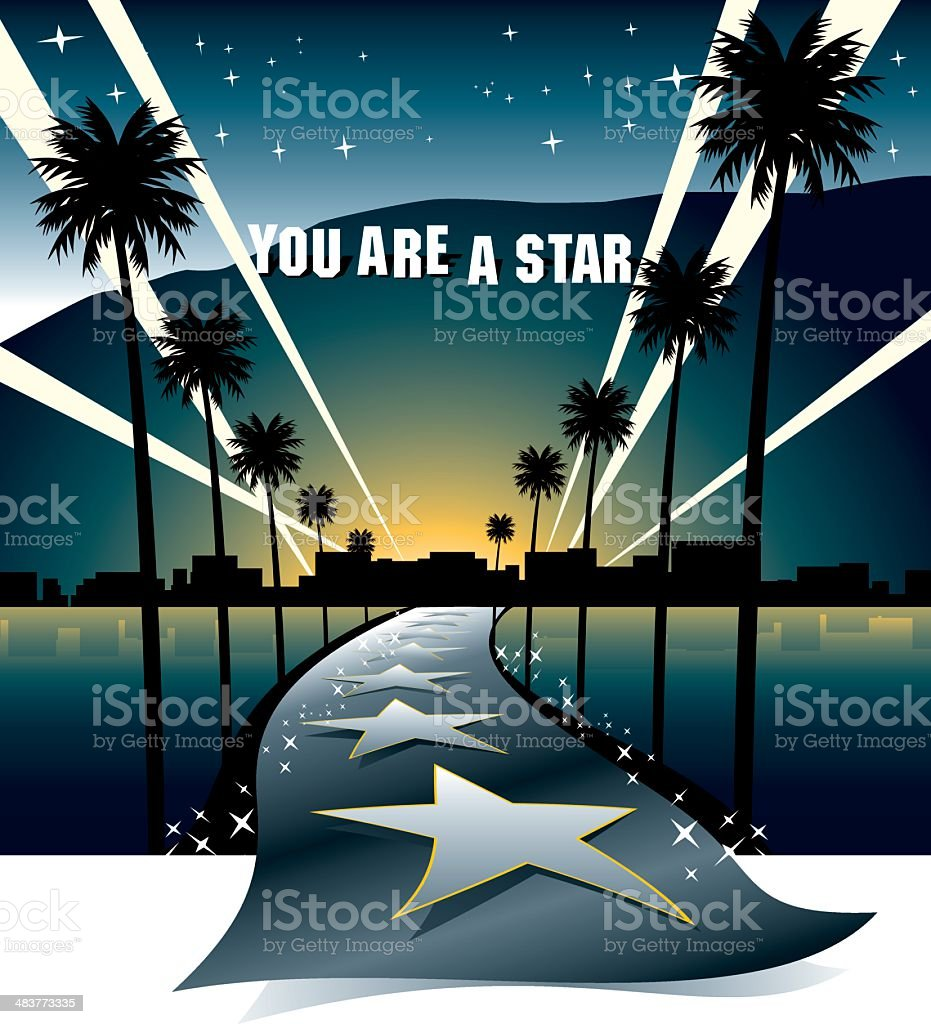 Street to the Stars vector art illustration