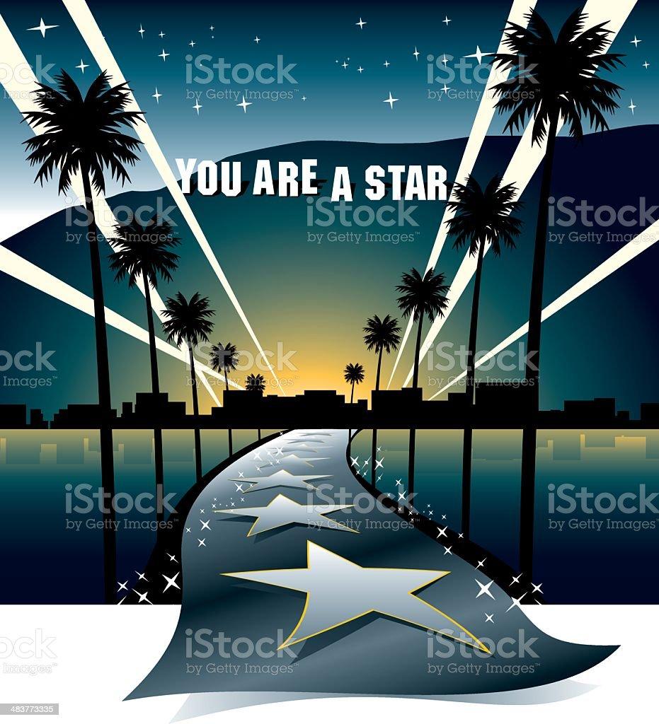 Street to the Stars vector art illustration
