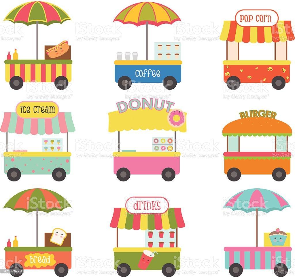 Street vending cart vector art illustration