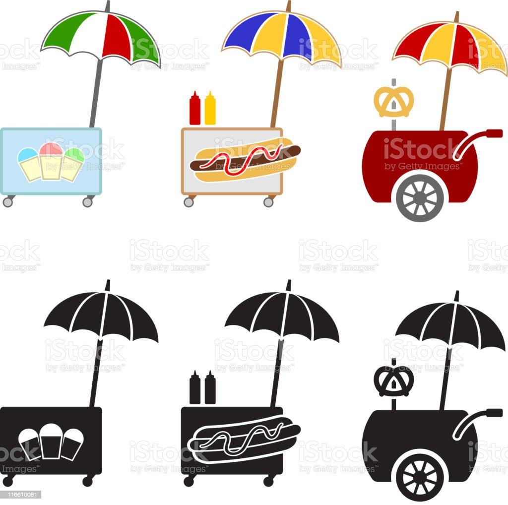Street Vendor Carts Concession Stands vector art illustration