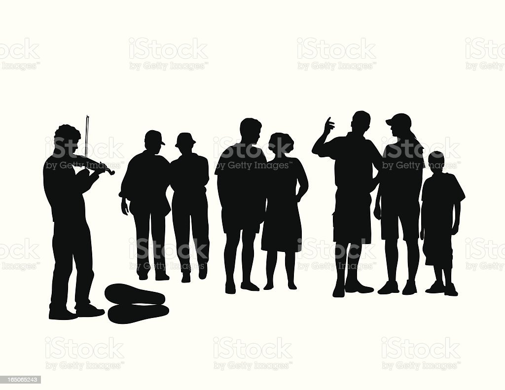 Street Violinist Vector Silhouette vector art illustration