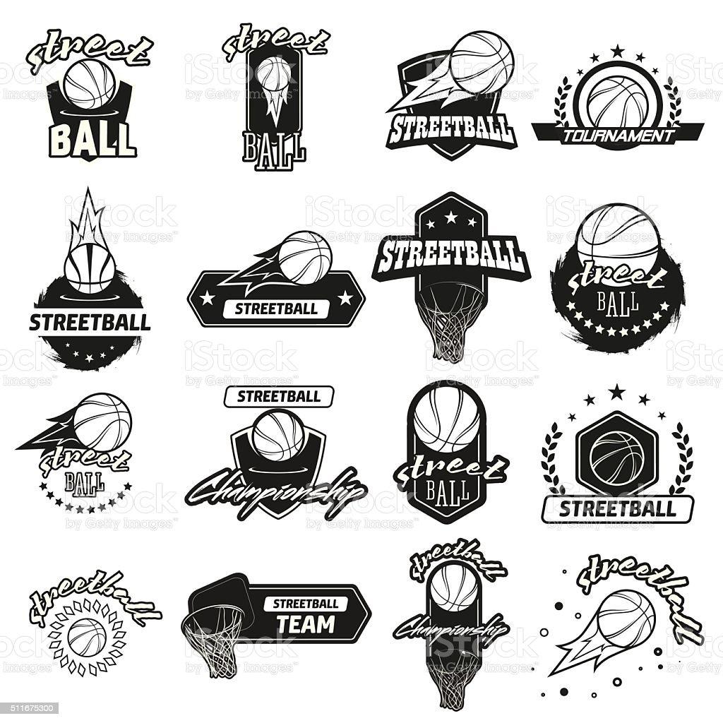 Streetball logo set vector art illustration