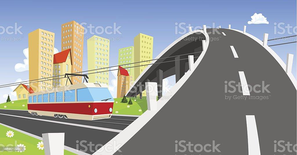 Streetcar coming under the bridge royalty-free stock vector art