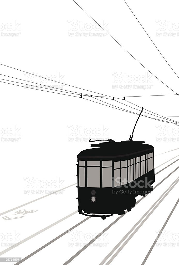 Streetcar Vector Silhouette royalty-free stock vector art