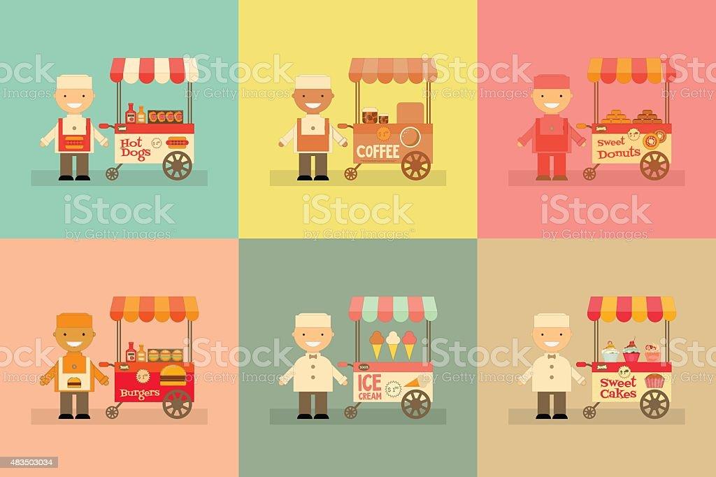 Street-Food Market Store Car vector art illustration