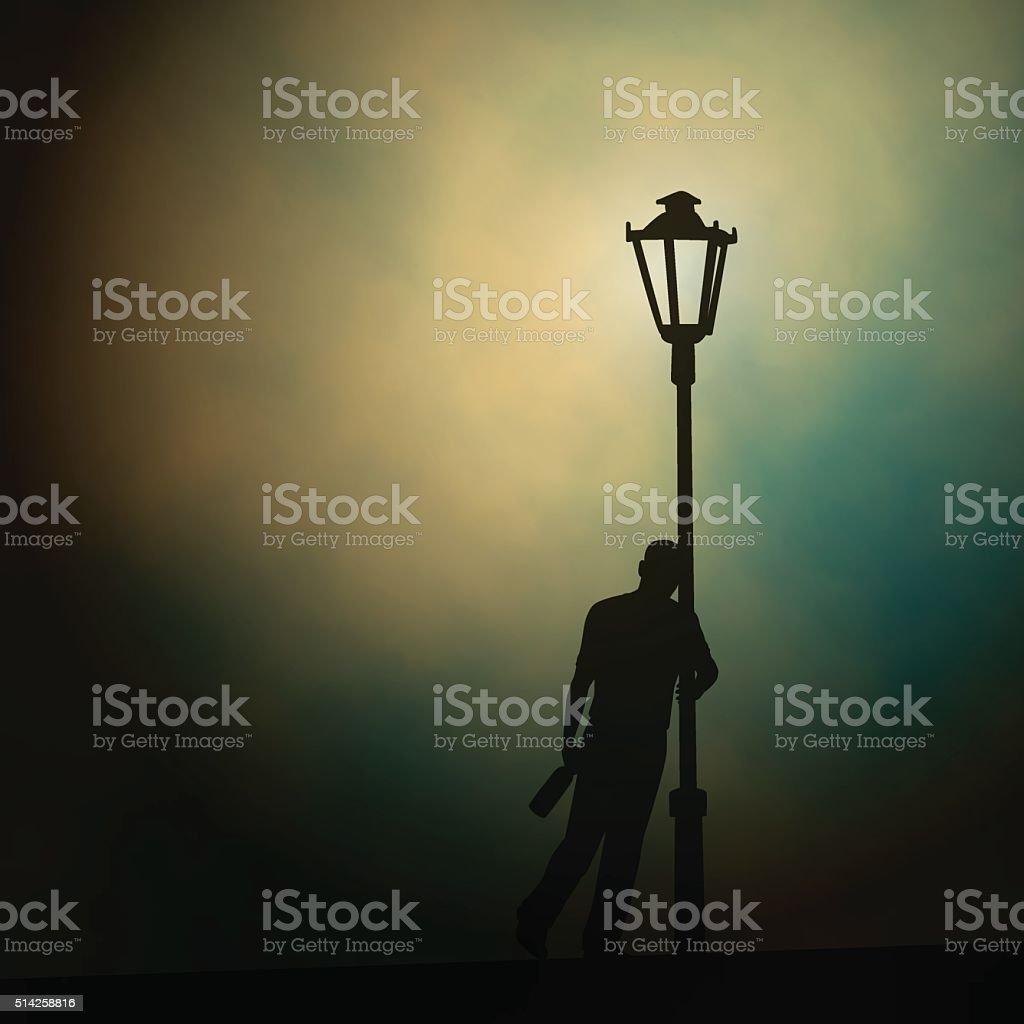 Streetlight drunk vector art illustration