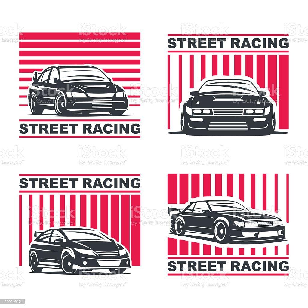 streetracing emblem set vector art illustration