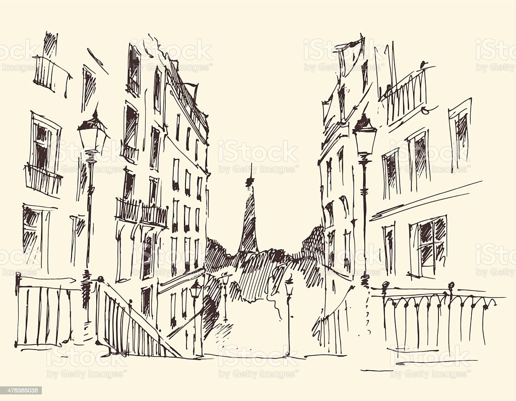 Streets in Paris, France, Vintage Hand Drawn vector art illustration