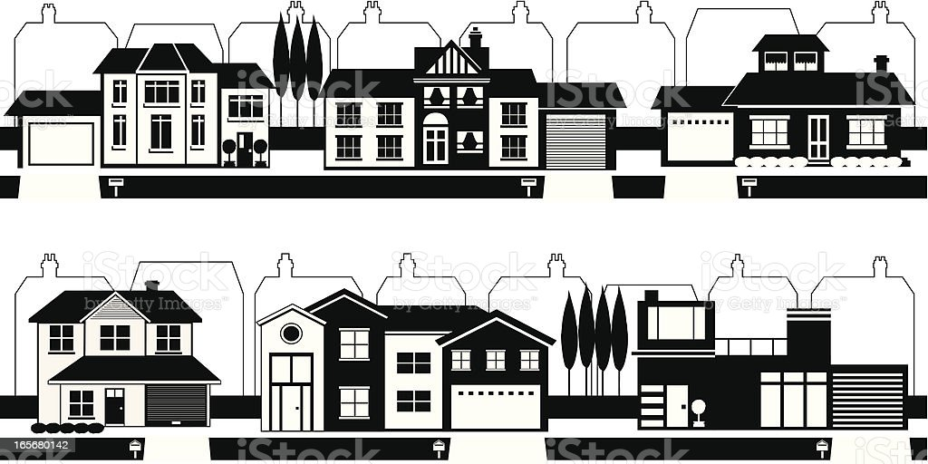 Streets of Silhouette Houses royalty-free stock vector art