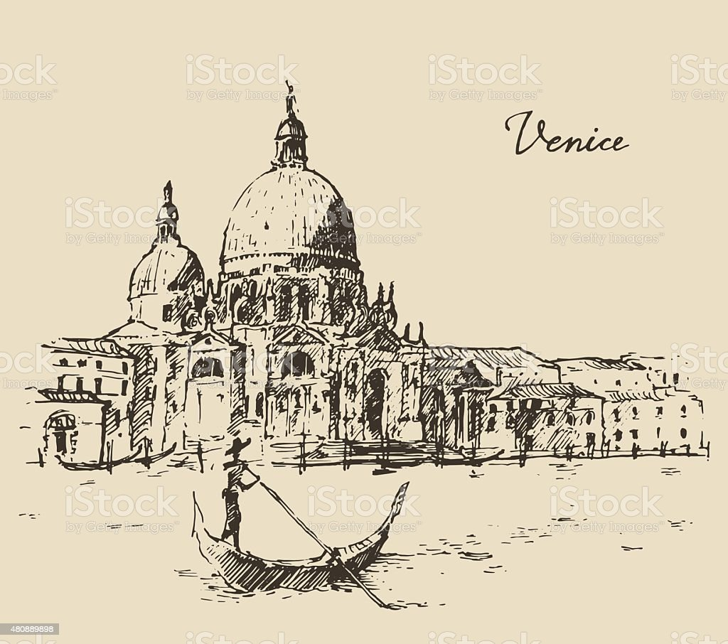 Streets Venice Italy with Gondola Vintage Engraved vector art illustration