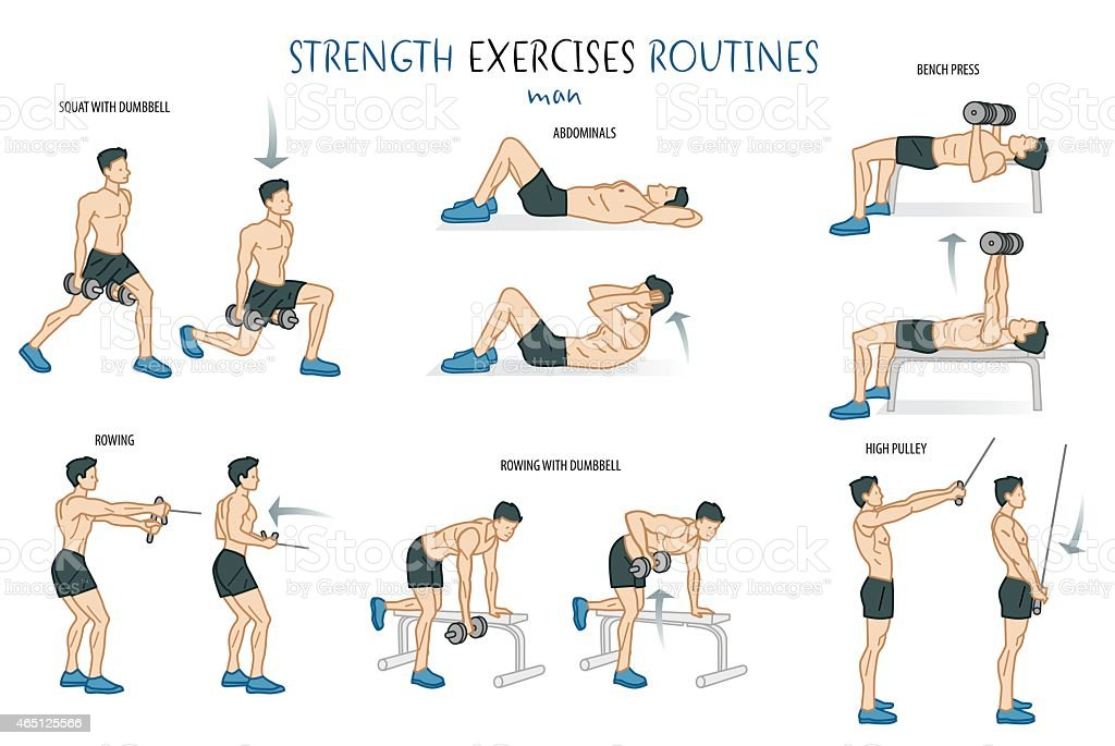 Strength Exercise Routine Man vector art illustration