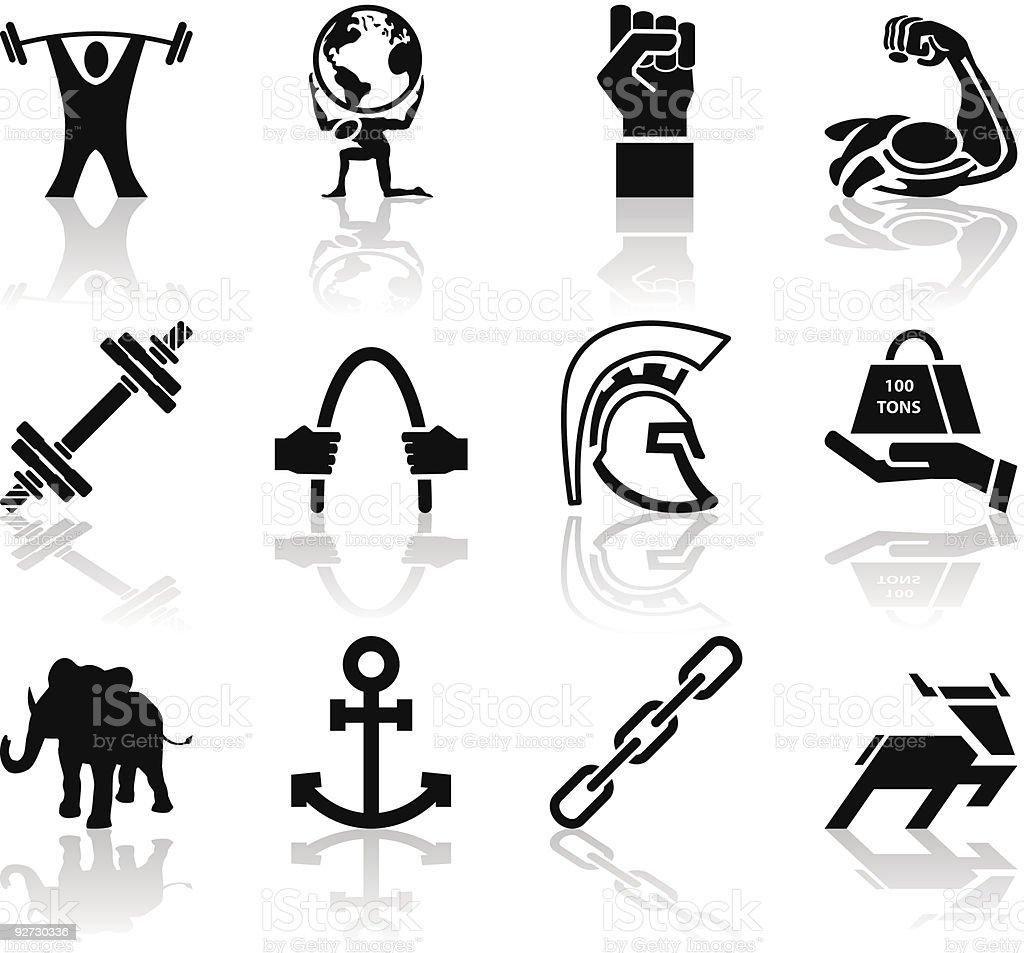 Strength Icon Set Series Design Elements vector art illustration