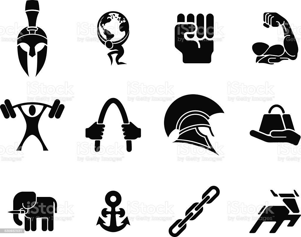 Strength icons vector art illustration