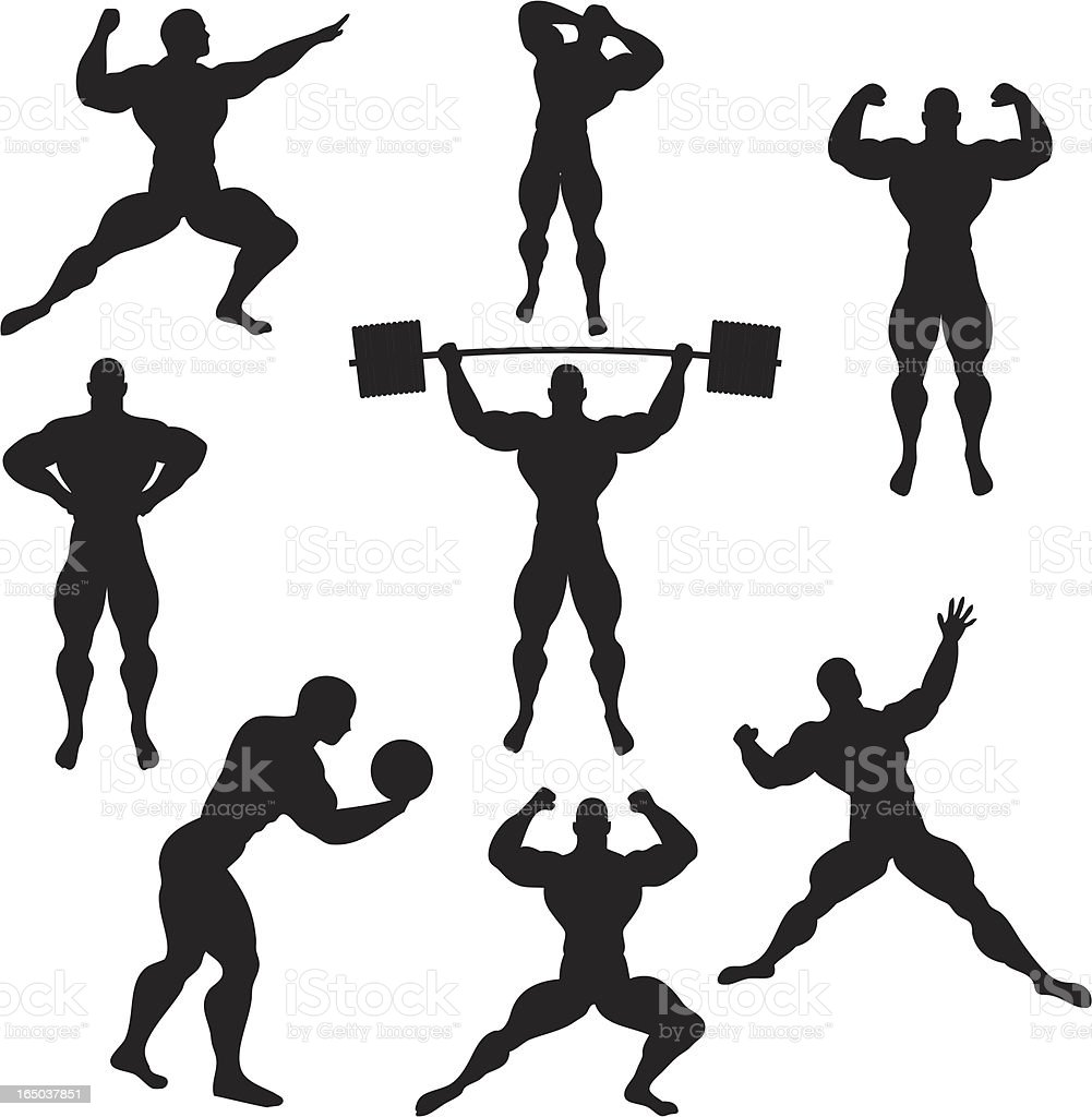 Strength Silhouette Collection (vector+jpg) vector art illustration