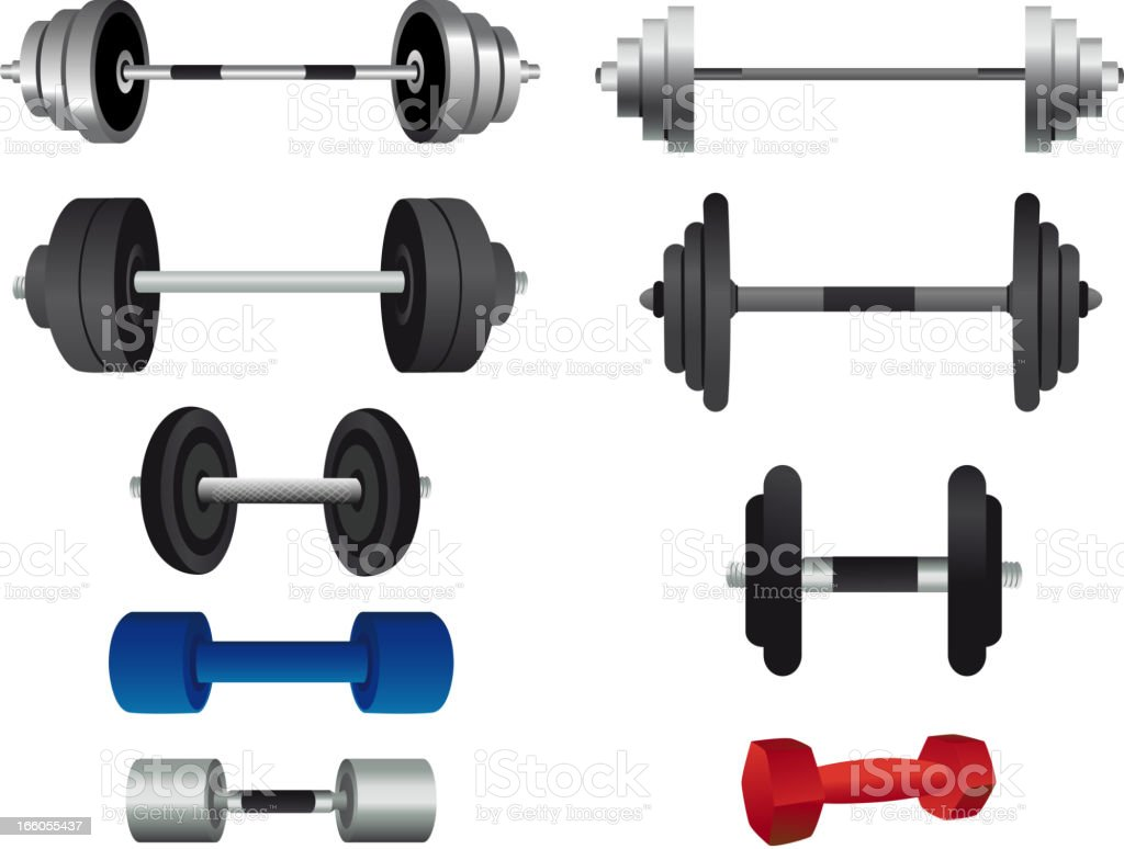 Strength Training Equipment and weight lifting GYM royalty-free stock vector art