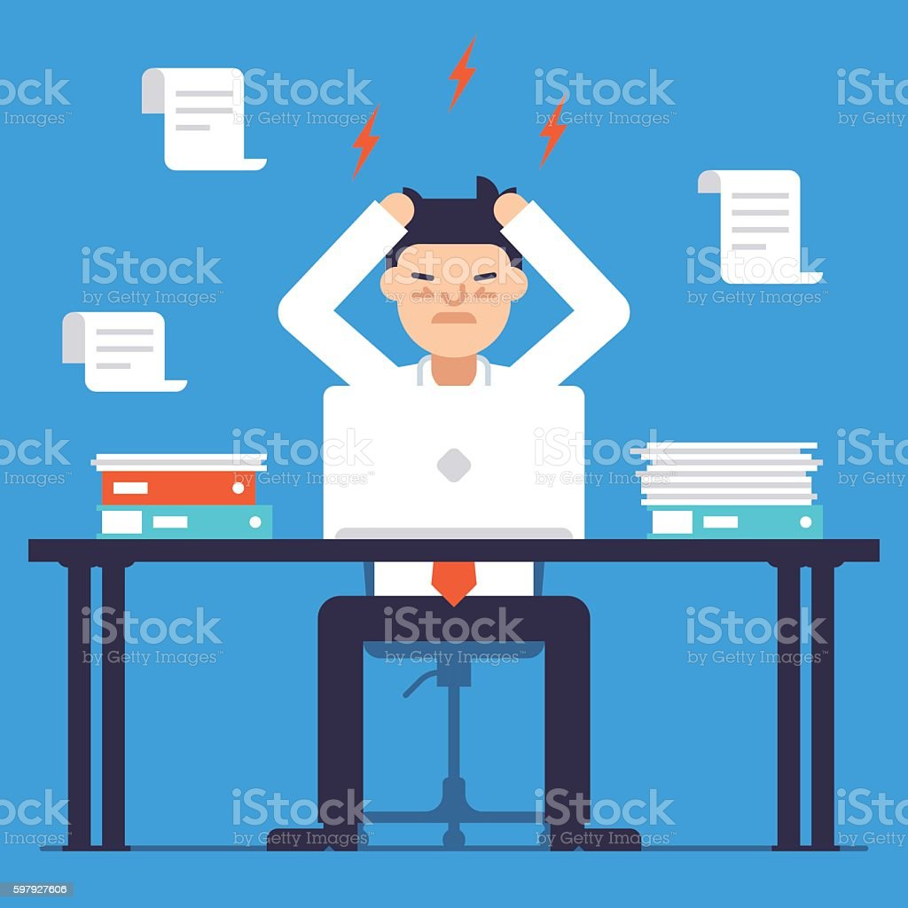 Stress at work. Busy time of businessman in hard working vector art illustration