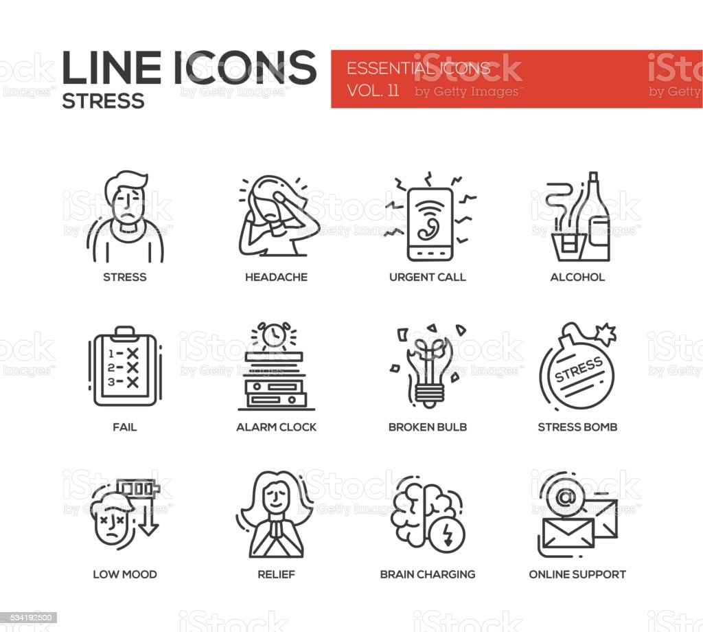Stress at work - line design icons set vector art illustration