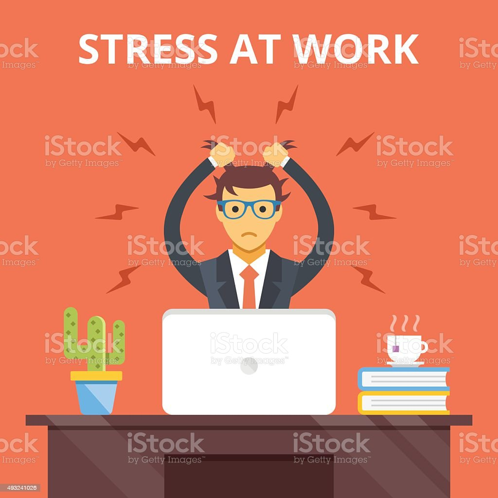 Stress at work. Stress situation concept. Vector flat illustration vector art illustration