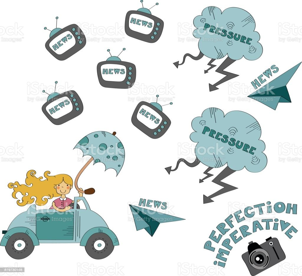 Stress in everyday life vector illustration vector art illustration