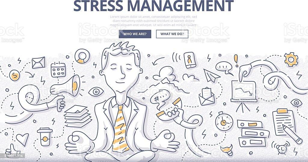 Stress Management Doodle Concept vector art illustration