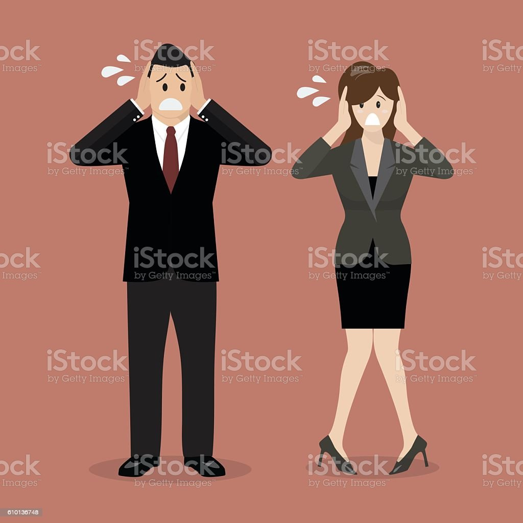 Stressed business man and woman vector art illustration