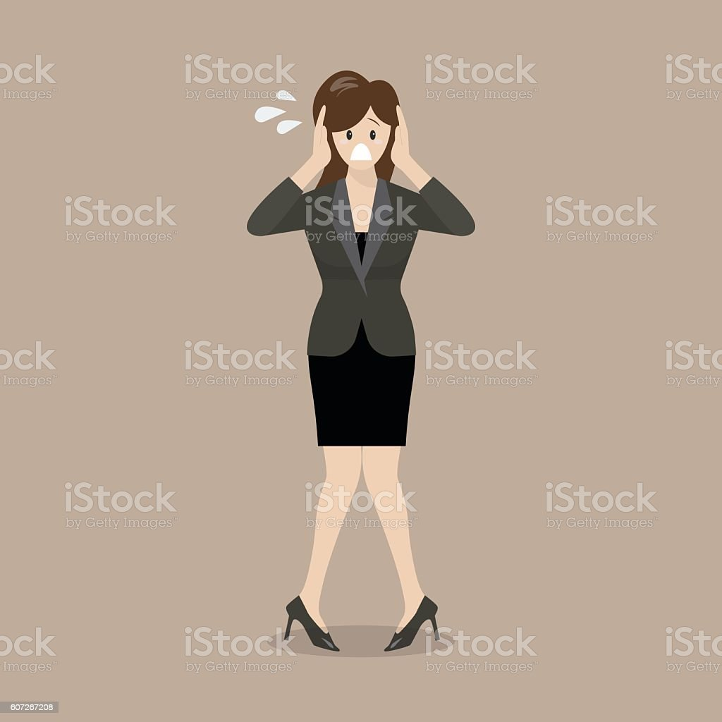 Stressed business woman vector art illustration