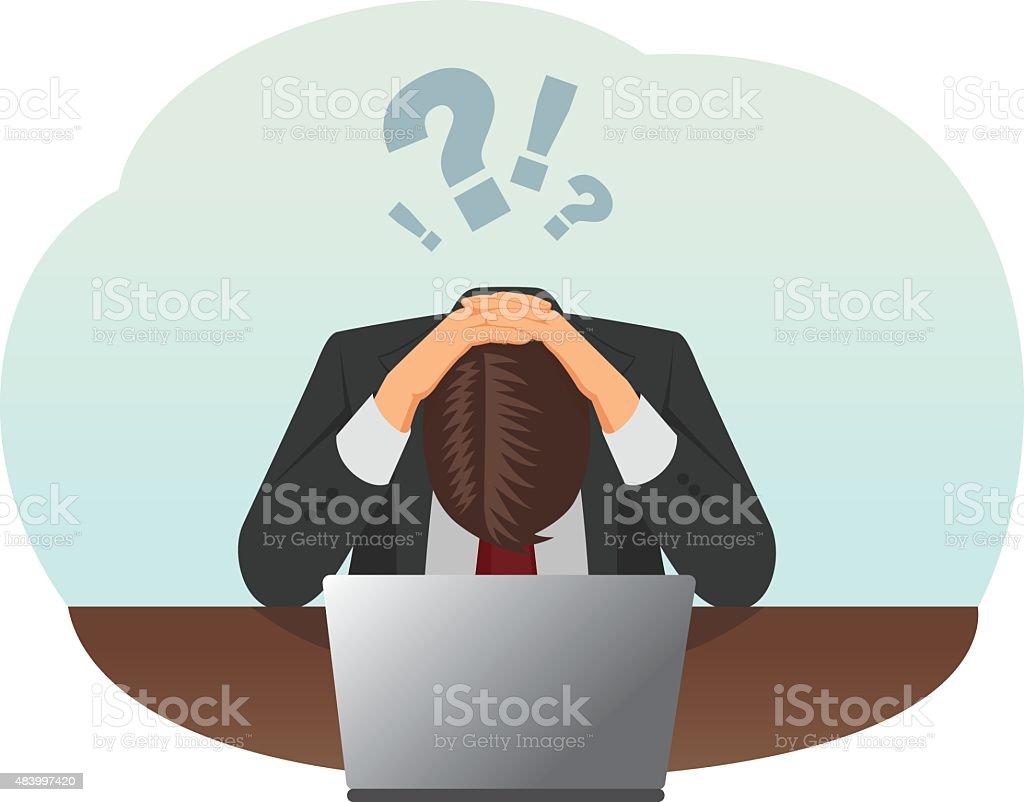 Stressed businessman vector art illustration