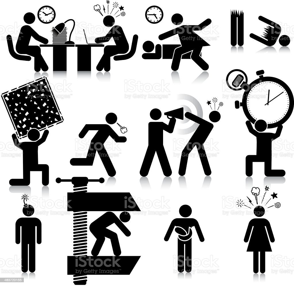 Stressed vector art illustration