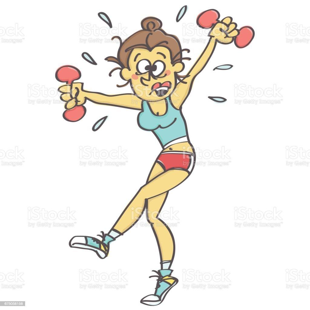 Stressed woman exercising aerobics vector art illustration
