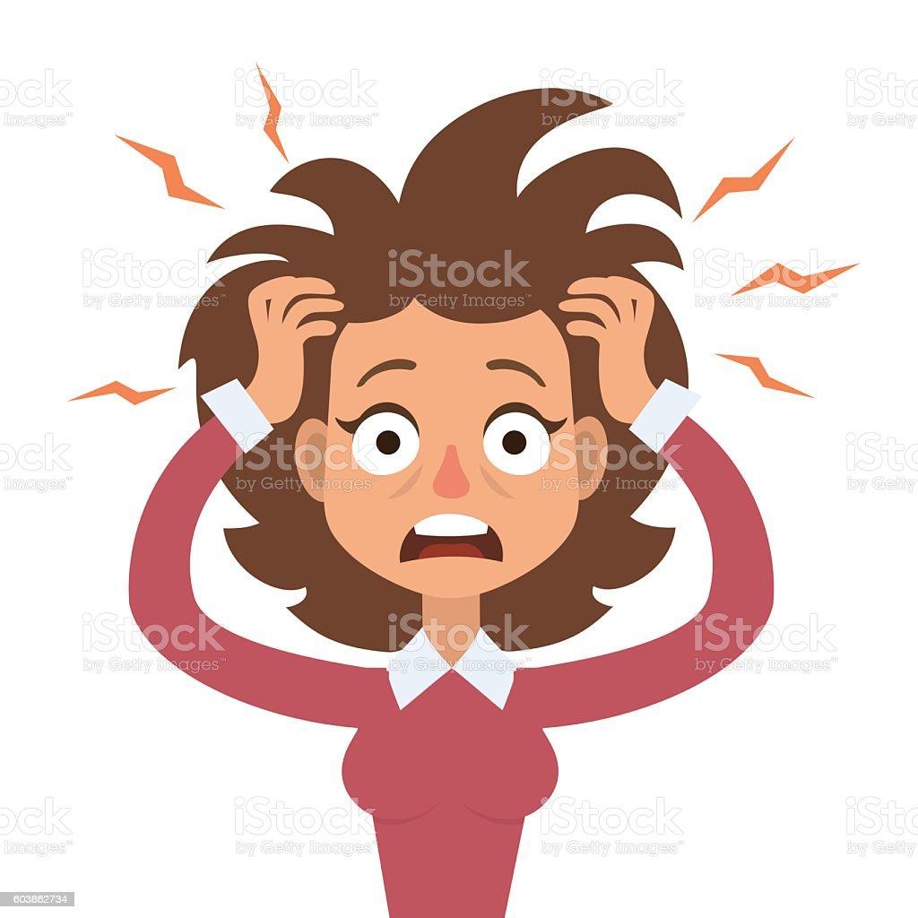 Stressed woman vector art illustration