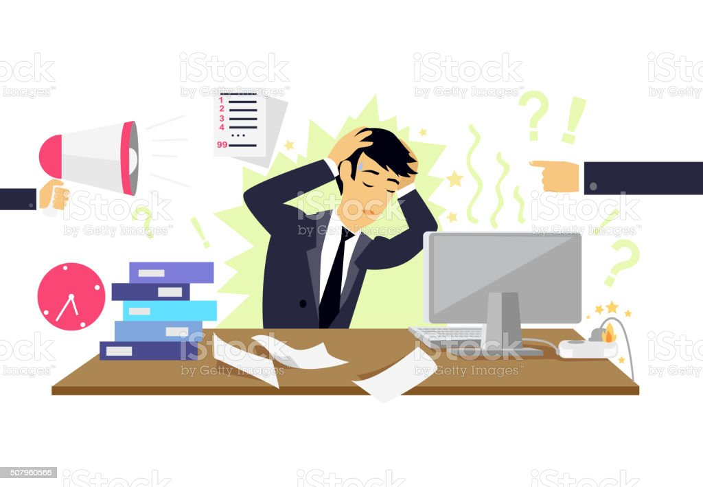 Stressful Condition Icon Flat Isolated vector art illustration