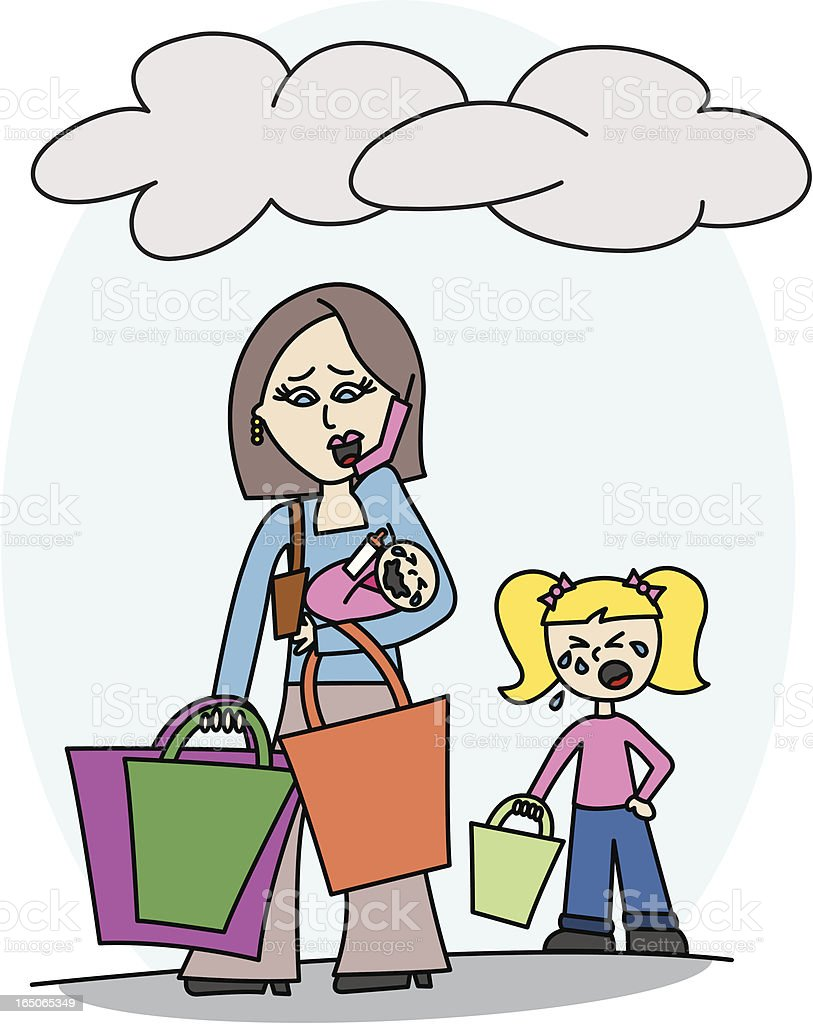 Stressful Shopping vector art illustration