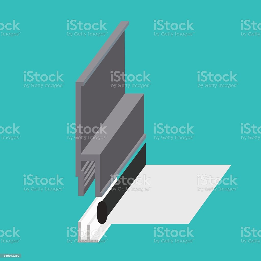 Stretch ceiling fastening profile sectional view model vector art illustration