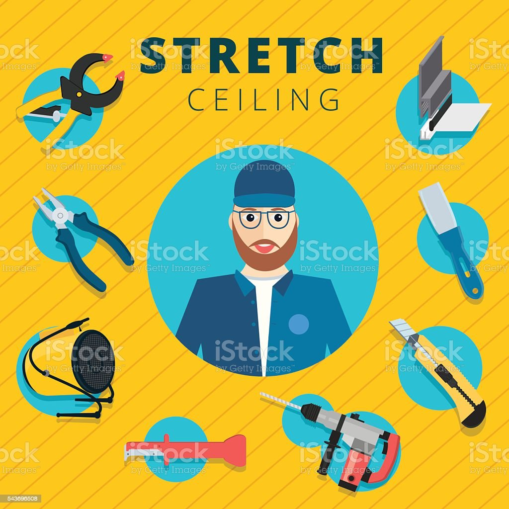 Stretch ceiling vector tools and worker vector art illustration