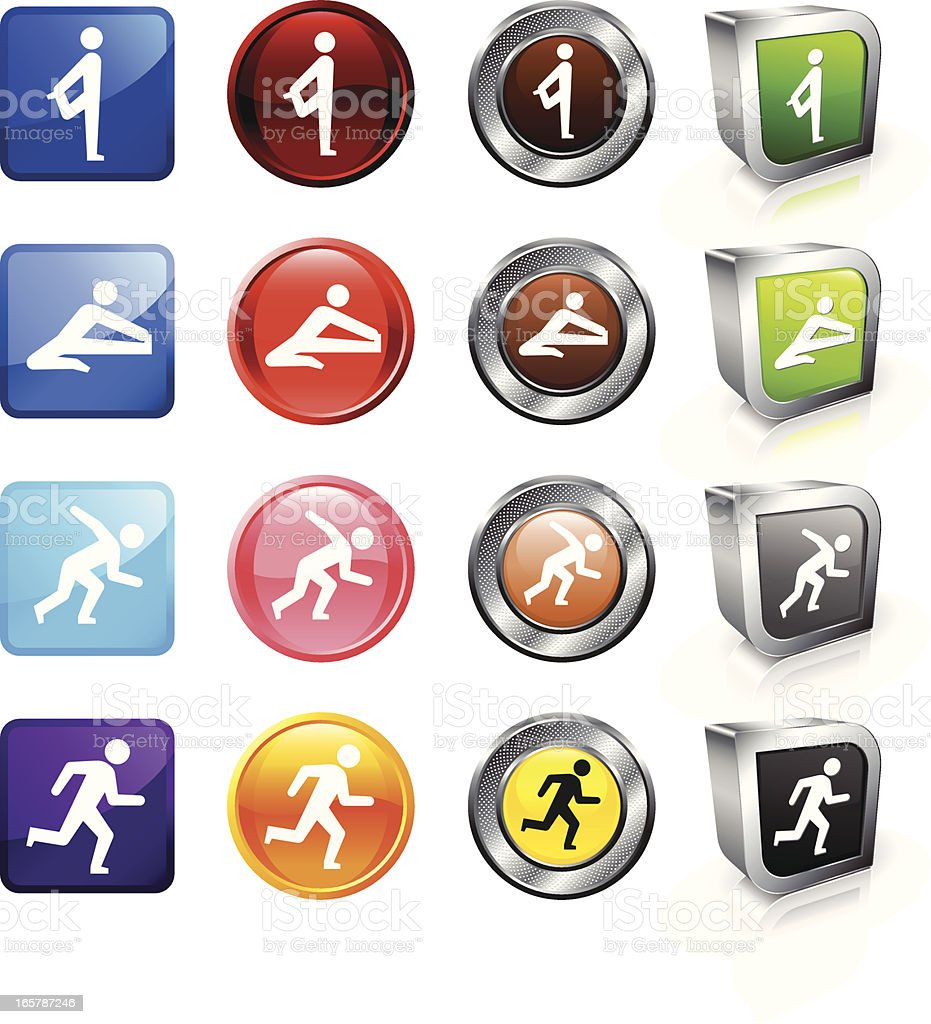 Stretching Routine Before Race royalty free vector button set vector art illustration