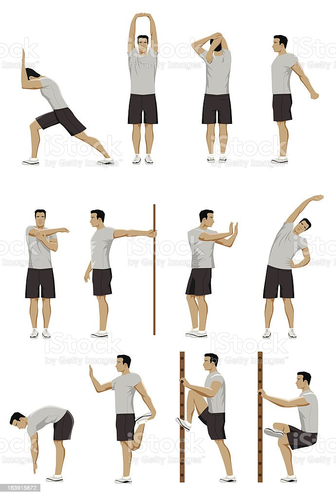 stretching routine vector art illustration