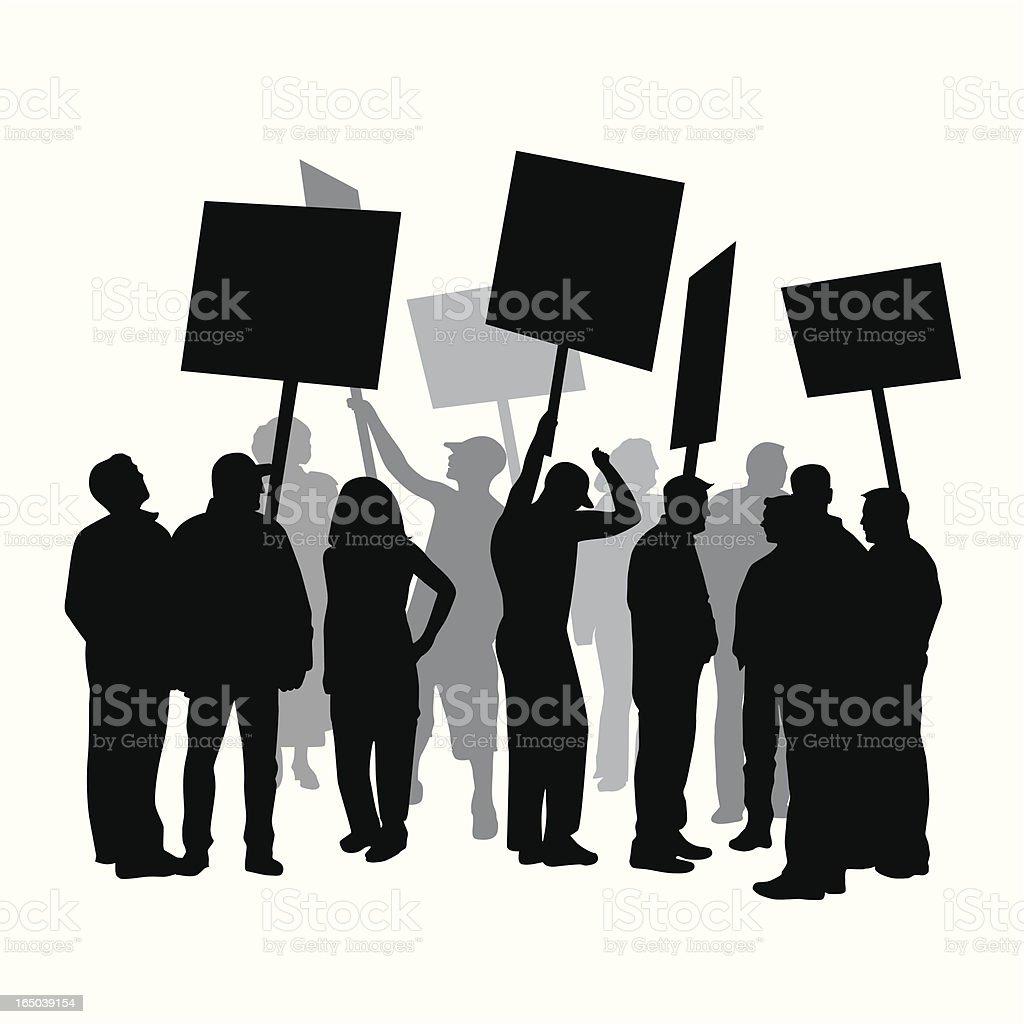 Strike Protest Union Vector Silhouette vector art illustration