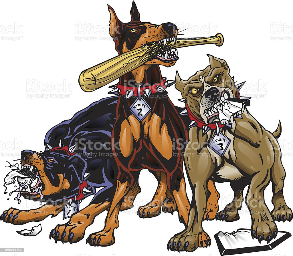 Strikeout Dogs vector art illustration