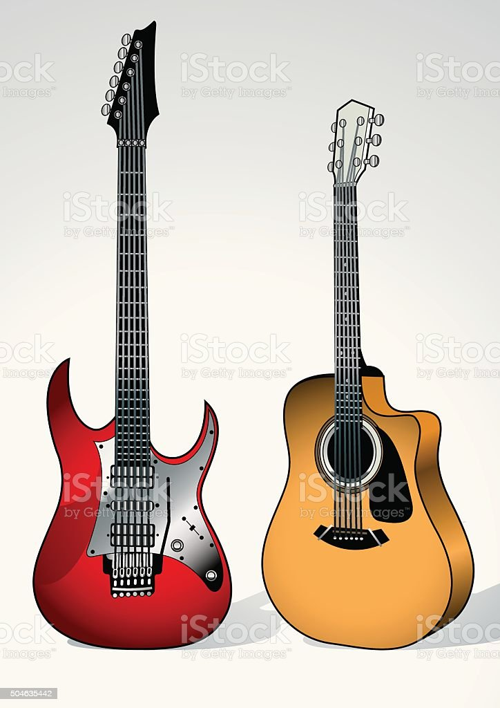 String and electric guitar next to each other vector art illustration