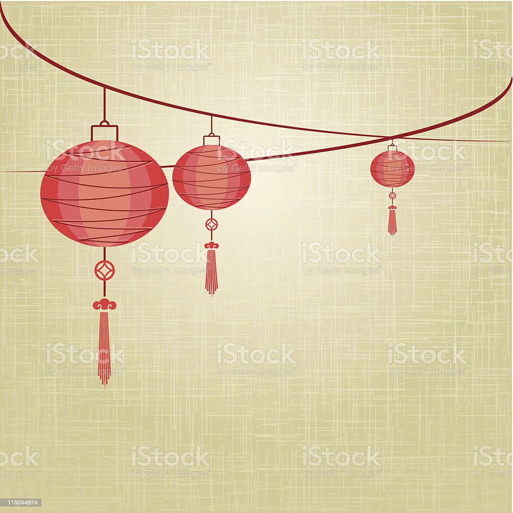 String of red lanterns are hanging on linen texture background royalty-free stock vector art
