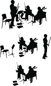 String Quartet Silhouette (Vector Drawing)