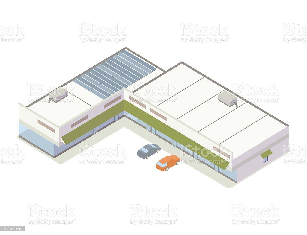Strip mall isometric illustration vector art illustration