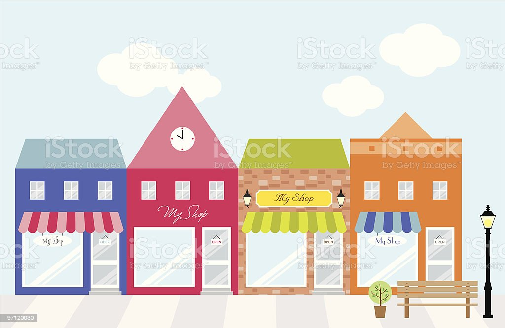 Strip Mall Shopping Center vector art illustration