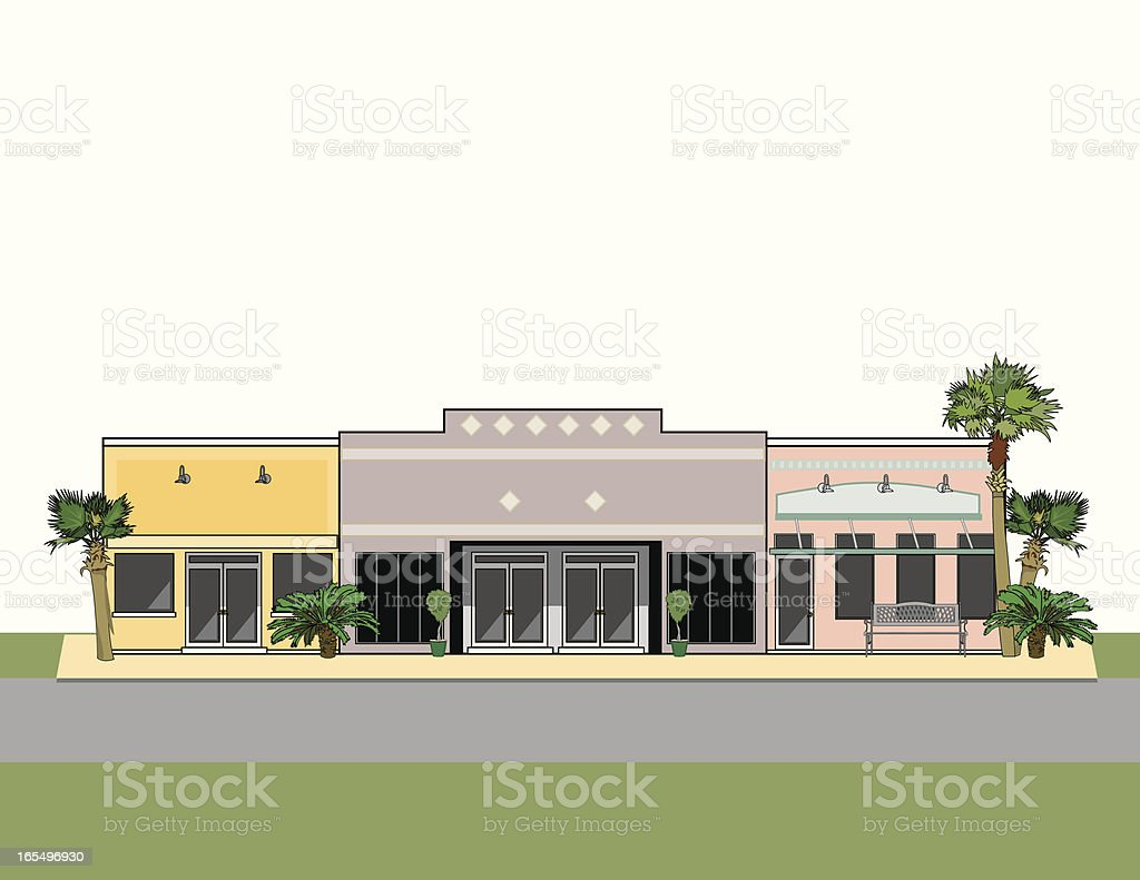 Strip Mall with Palm Trees vector art illustration