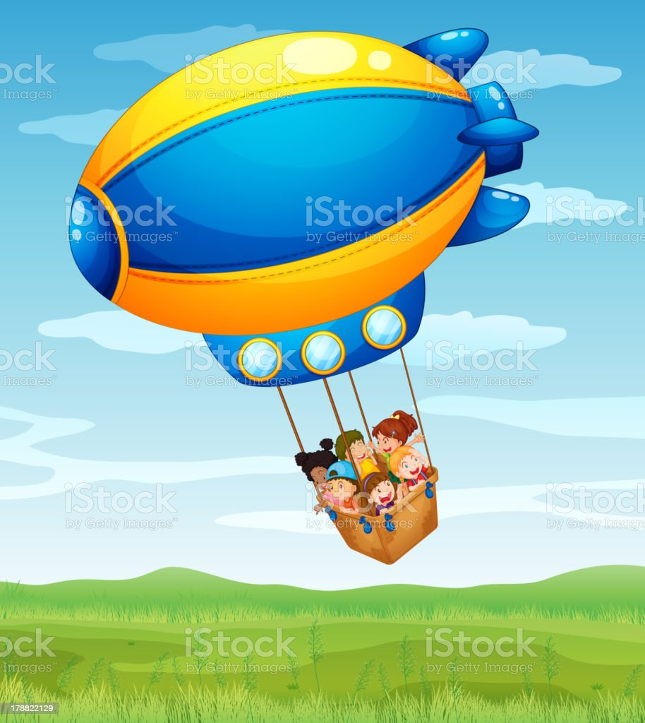 Stripe airship carrying a group of kids royalty-free stock vector art