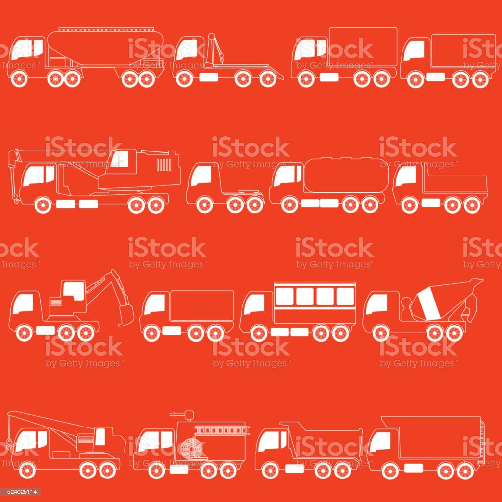 stripe line trucks and giant vehicle vector art illustration