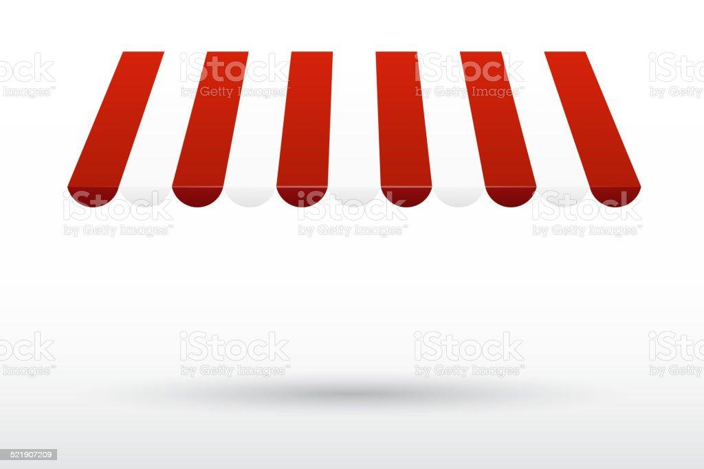 Striped awning vector art illustration